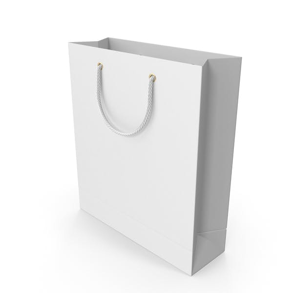 White Shopping Bag with White Handles