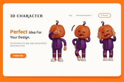 Halloween Scarecrow 3D Character Illustrator