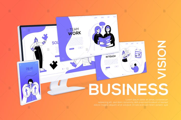 Thumbnail for Business vision - flat design style web banner