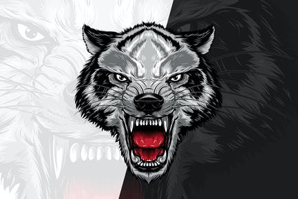 Wütender Wolfskopf