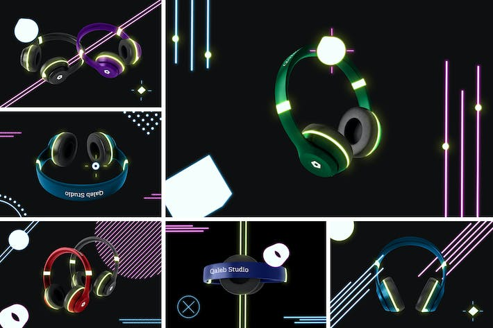 Thumbnail for Neon Headphones Mockup