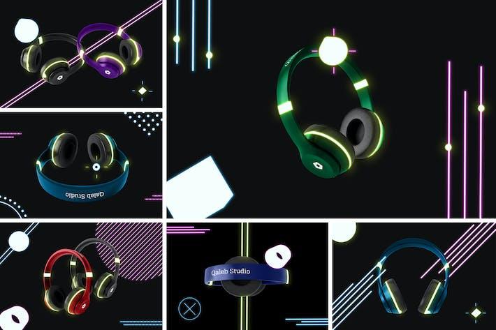 Neon Kopfhörer Mockup