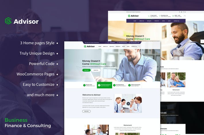 Download 319 business templates envato elements thumbnail for advisor consulting business finance wordpress friedricerecipe Choice Image