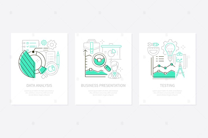 Thumbnail for Analytics concept - line design style banners set