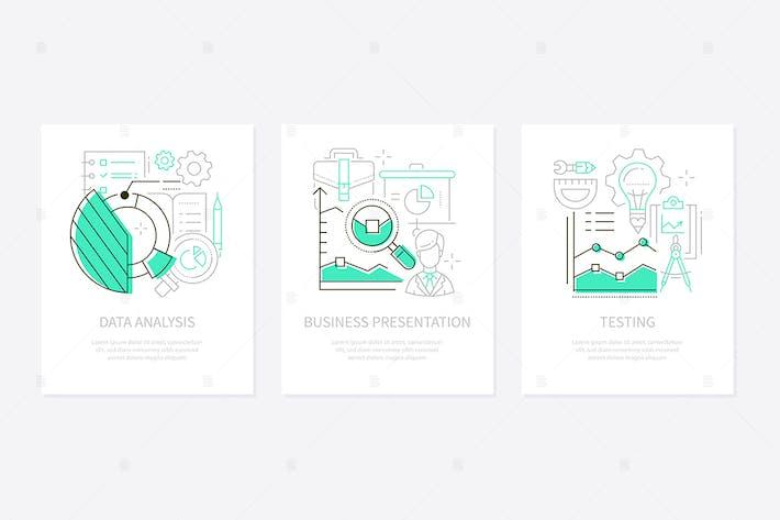 Thumbnail for Analytics-Konzept - Liniendesign Stil Banner Set
