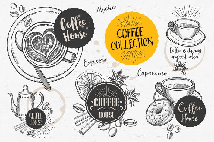 Thumbnail for Coffee Doodle Elements