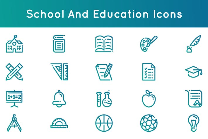 Cover Image For School and Education Icons