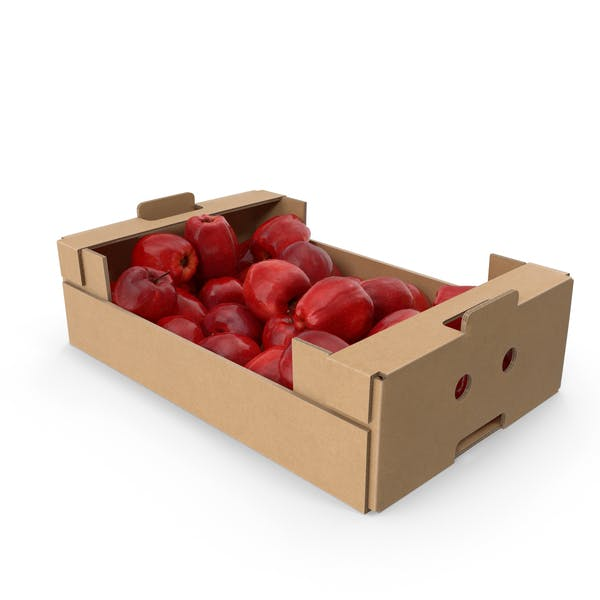 Cardboard Box with Red Chief Apples
