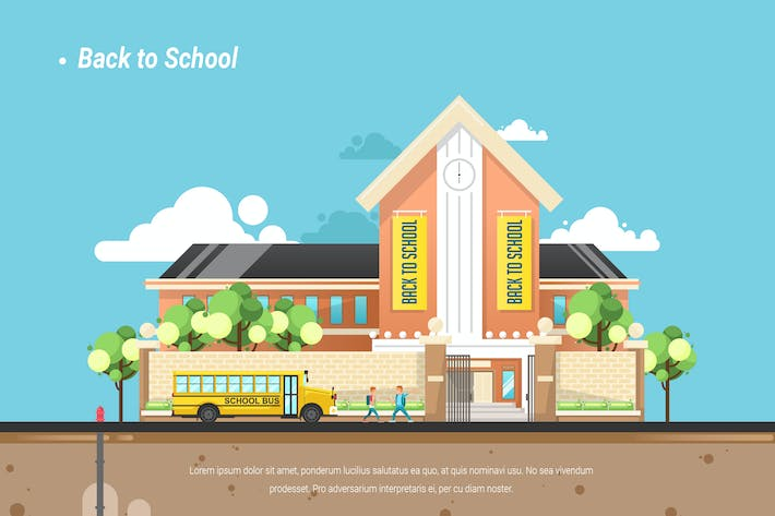 Thumbnail for Back to School - Vector Landscape & Building