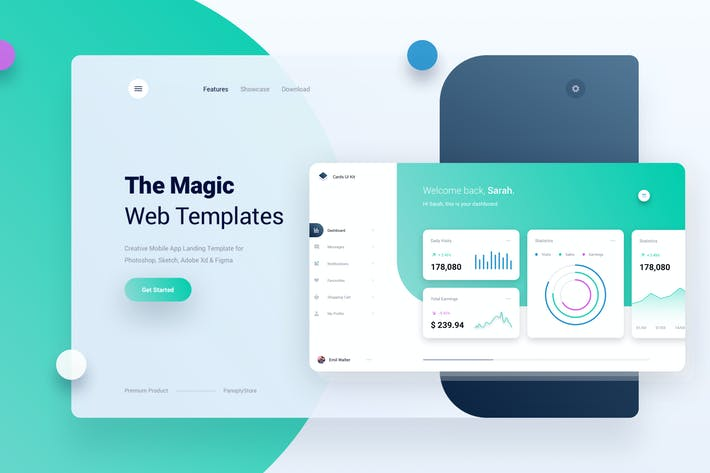 Cover Image For Mobile App Landing Page Template UI Kit Dashboard