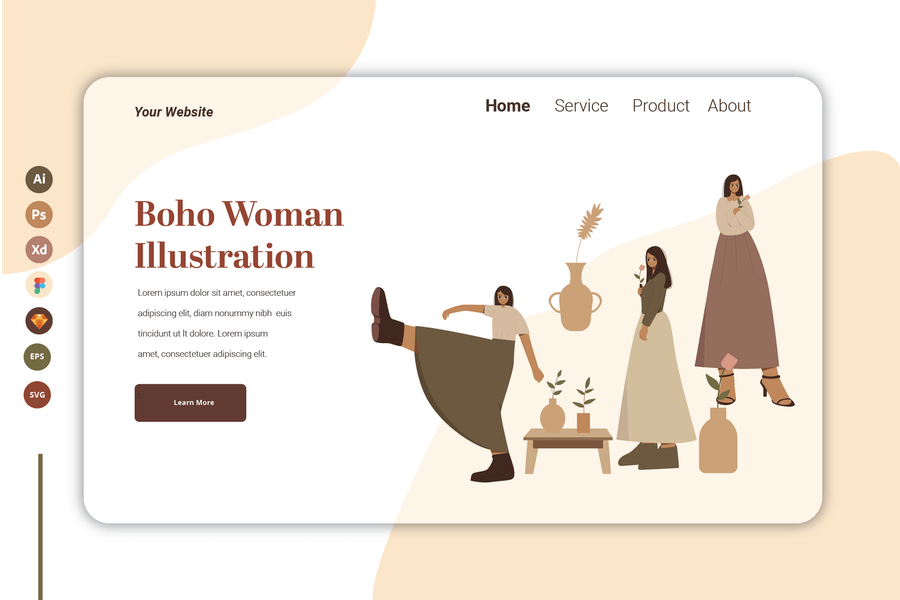 Boho Woman Vol 7 - Landing Page Template