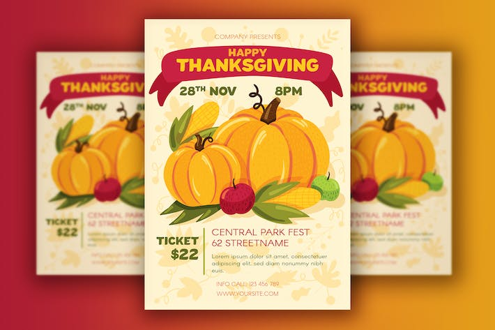Thumbnail for Thanksgiving Poster With Harvest