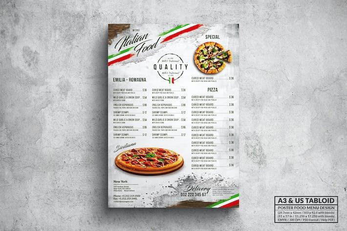 Thumbnail for Italian Pizza Poster Food Menu - A3 & US Tabloid