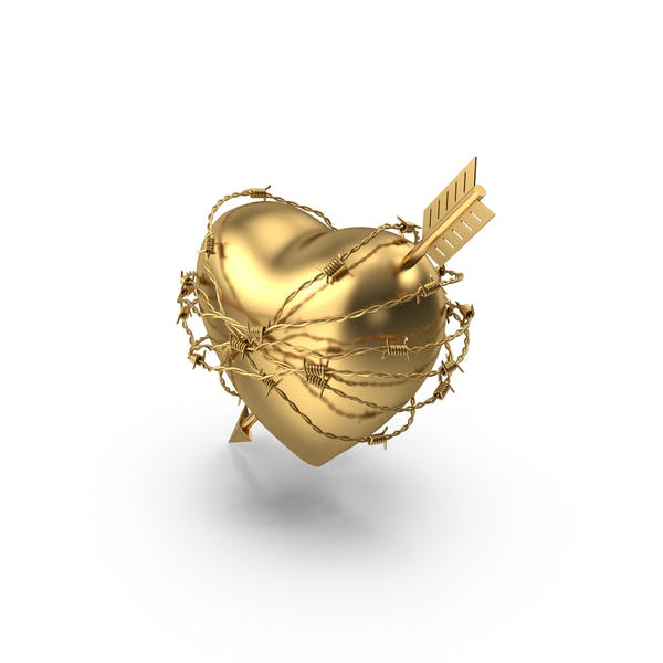 Golden Heart with Arrow In Barbed Wire
