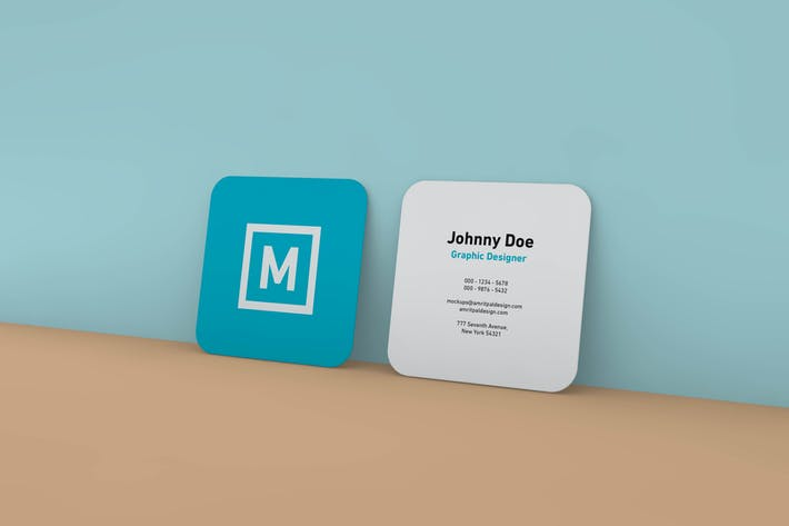 Thumbnail for Rounded Square Business Card Wall Mockup