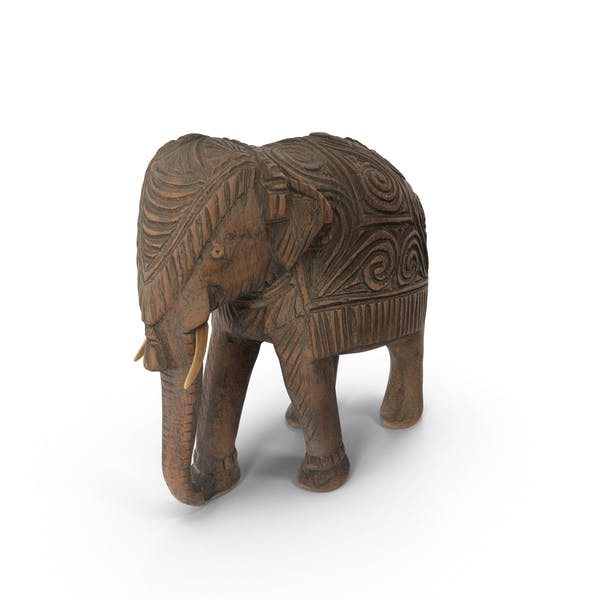 Cover Image for Indian Wooden Elephant Statuette