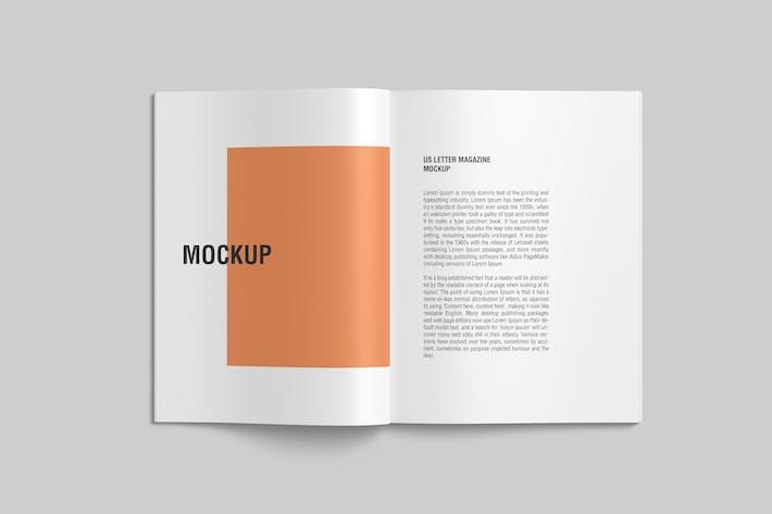 Thumbnail for Open US Letter Magazine Mockup Draufsicht