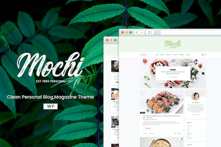 Cover Image For Mochi - A Clean Personal WordPress Blog Theme