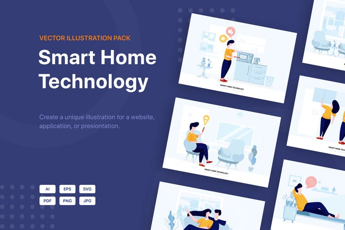 Thumbnail for Smart Home Technology Vector Scenes