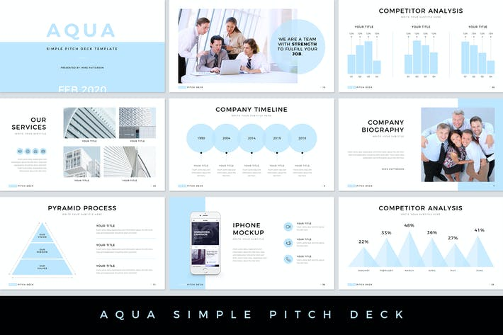 Thumbnail for Aqua Pitch Deck Google Slides Template
