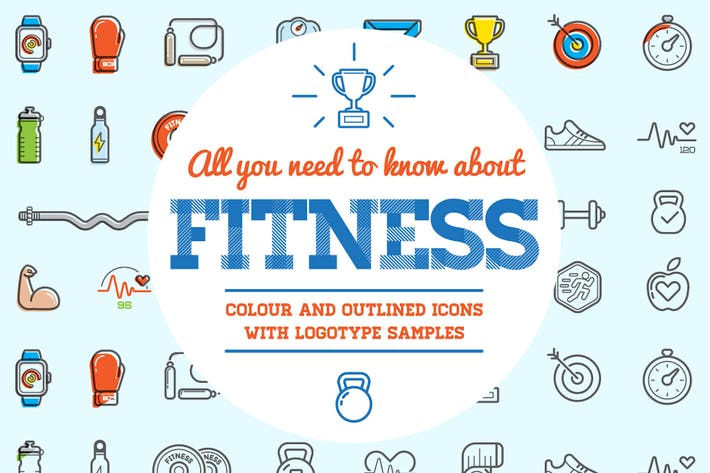 Thumbnail for Fitness Color and Outlined Icons with Logotypes