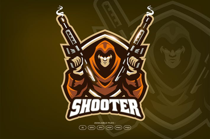 Assassin Sniper Spy Agent Mascot Logo Template