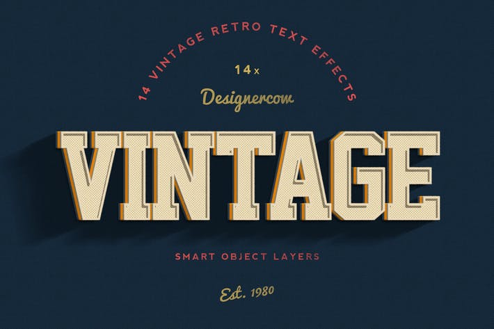 Thumbnail for 14 Vintage Retro Text Effects