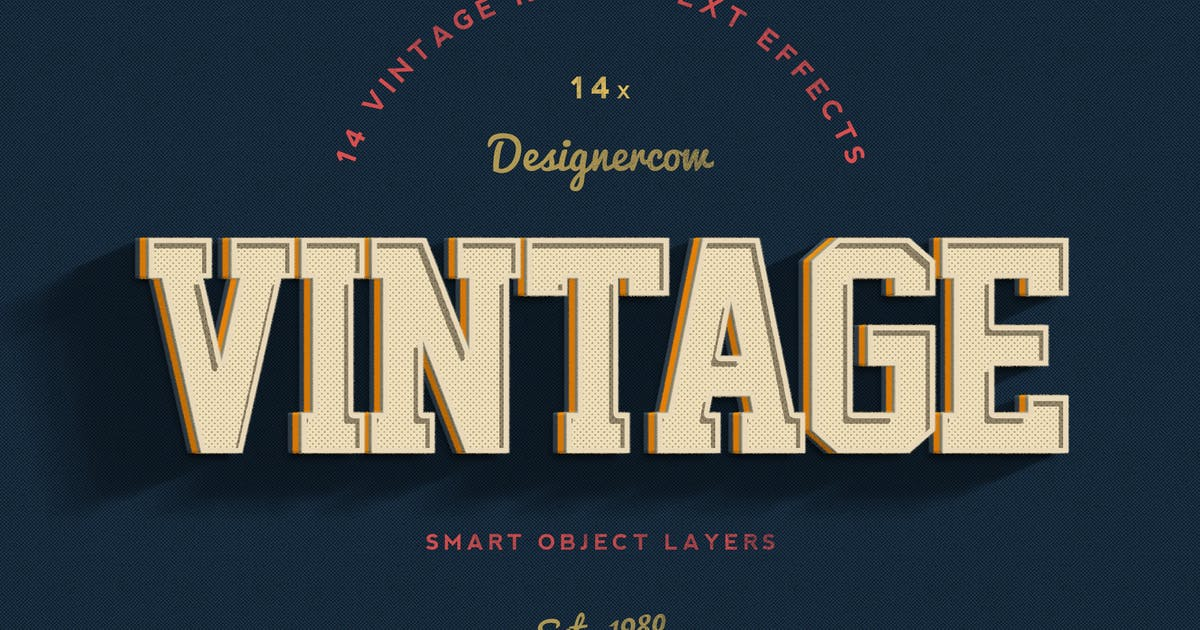 14 Vintage Retro Text Effects by designercow