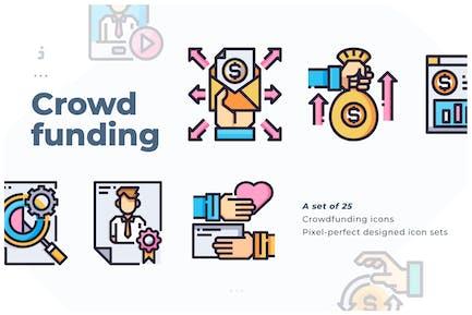 25 Crowdfunding Icon set