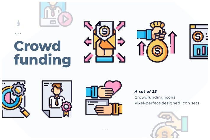Thumbnail for 25 Crowdfunding Icon set