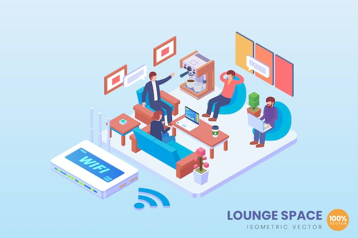Thumbnail for Isometric Lounge Space Vector Concept