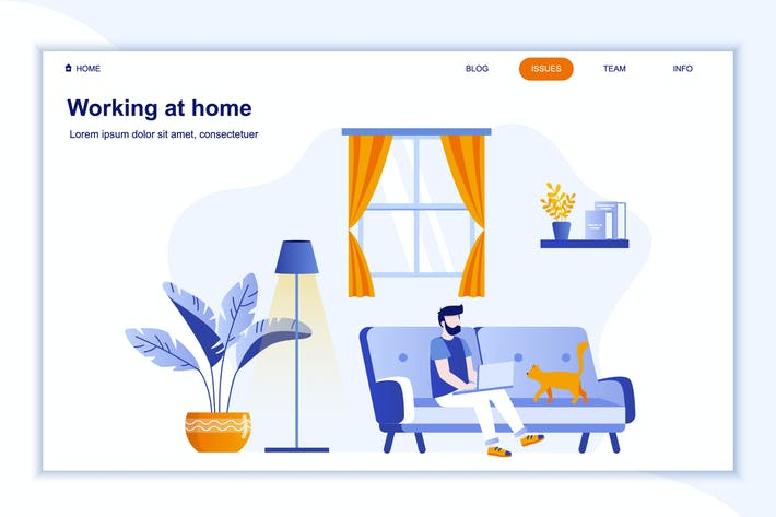 Thumbnail for Working at Home Landing Page Flat Concept