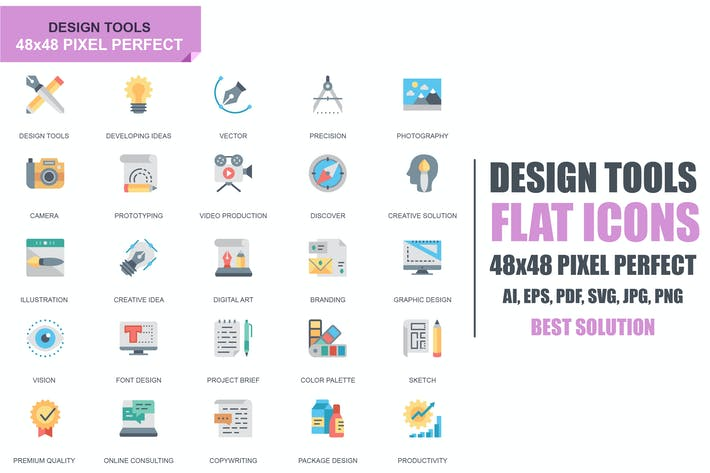 Thumbnail for Simple Set Design Tools Flat Icons