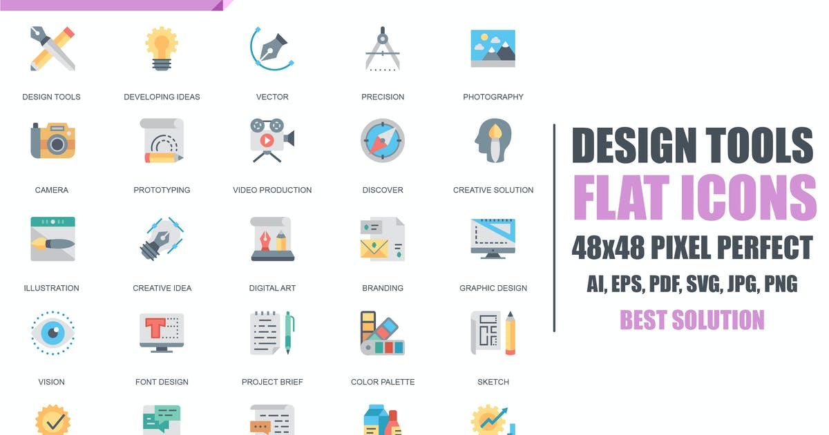 Download Simple Set Design Tools Flat Icons by alexdndz