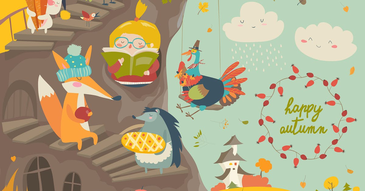 Download Cute treehouse with little girl and animals by masastarus