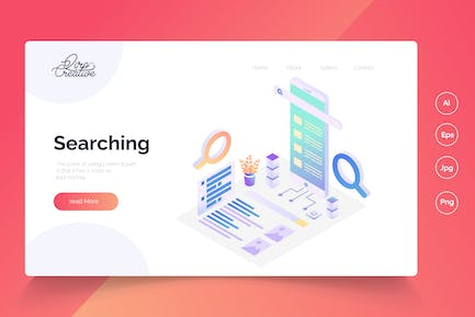 Searching - Isometric Landing Pag