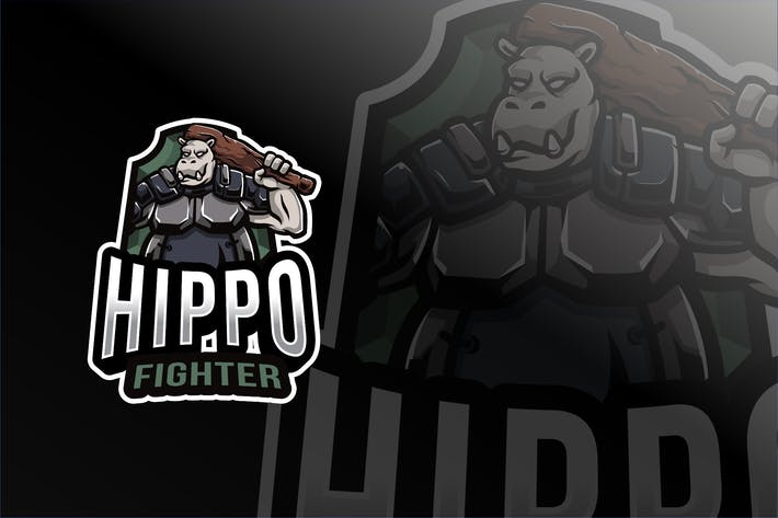 Thumbnail for Hippo Fighter Esport Logo Template