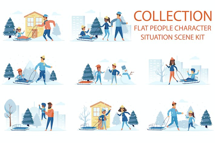 Snow Sledding People Character Scenes Situation