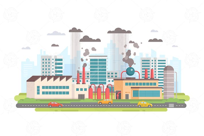 Cover Image For Cityscape with a factory - flat illustration