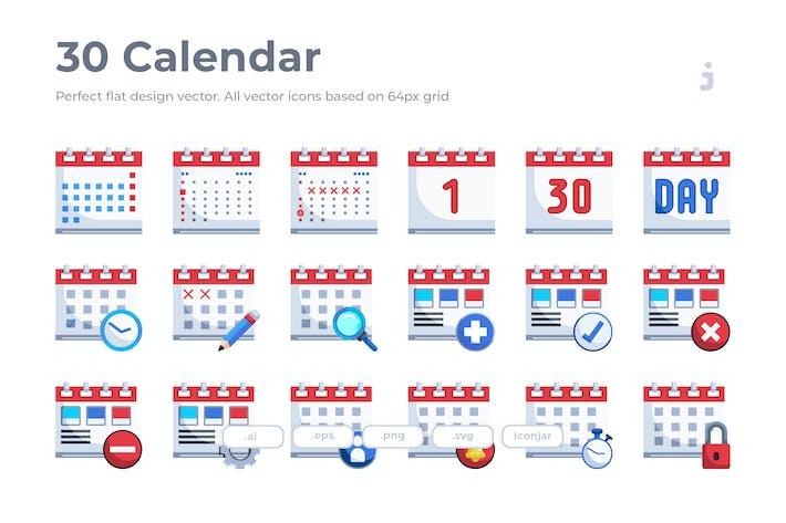 Thumbnail for 30 Calendar Icons - Flat