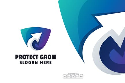 Protect Grow Gradient Logo Template