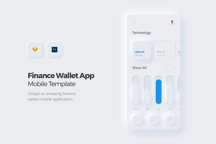 Thumbnail for Finance Wallet Mobile App UI Kit Template 3