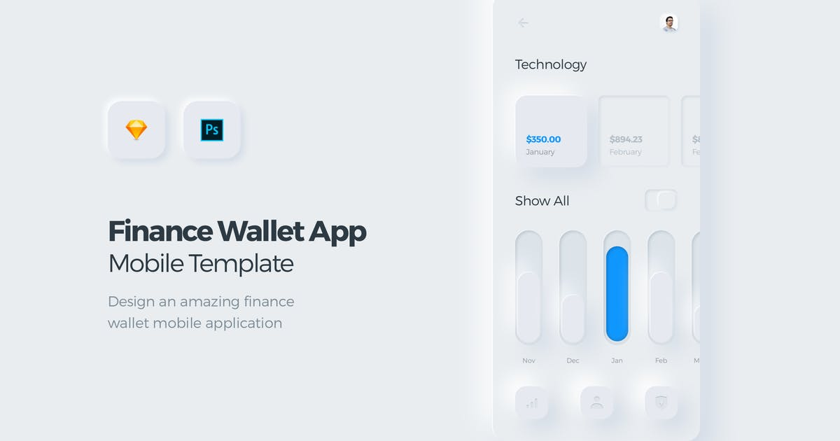 Download Finance Wallet Mobile App UI Kit Template 3 by panoplystore