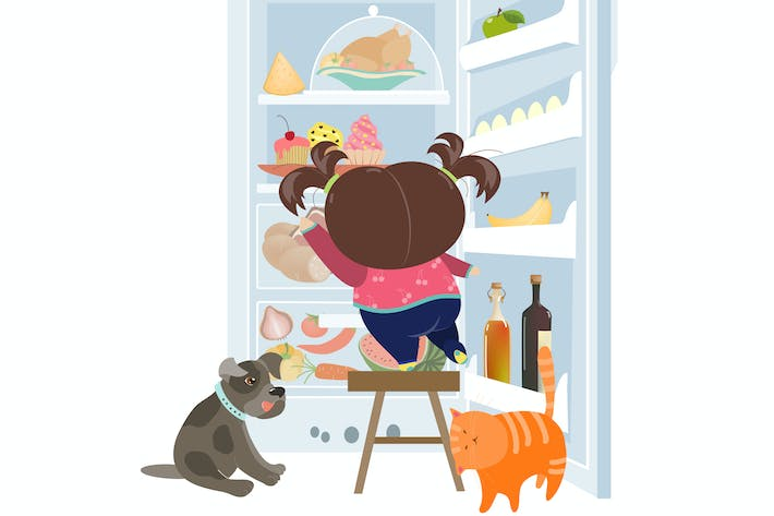 Thumbnail for Girl taking the cake from refrigerator. Vector