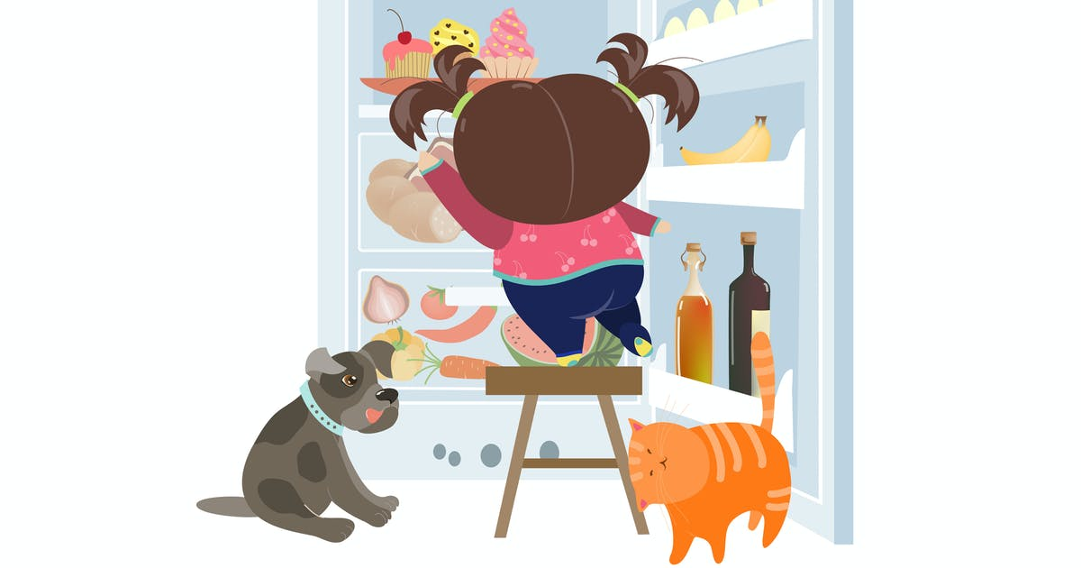 Download Girl taking the cake from refrigerator. Vector by masastarus