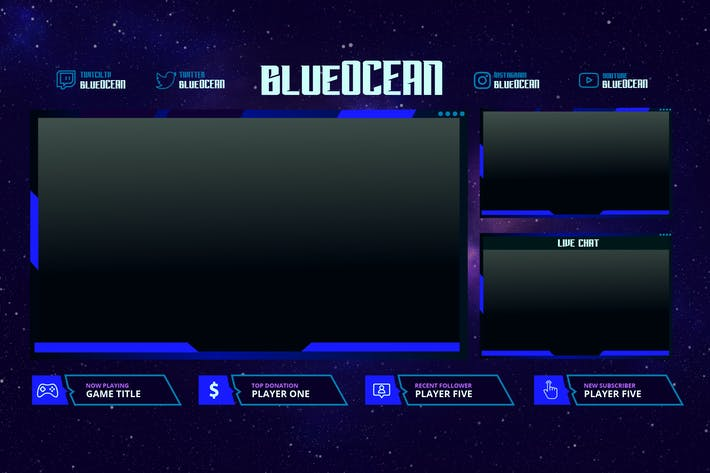Thumbnail for Blue Ocean - Twitch Overlay Template
