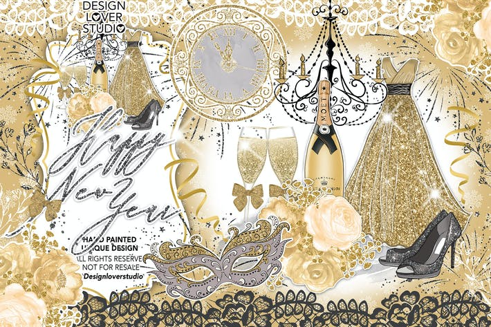 Cover Image For Happy New Year Gold design