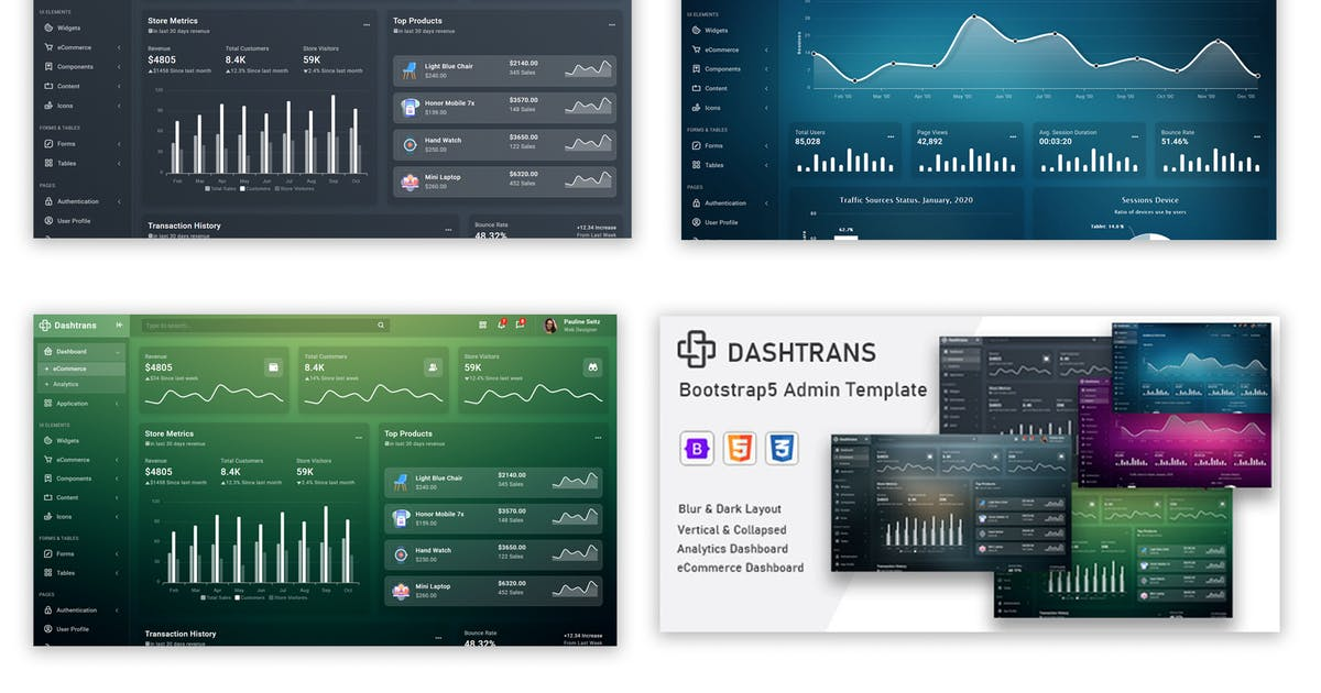 Download Dashtrans - Bootstrap5 Admin Template by codervent