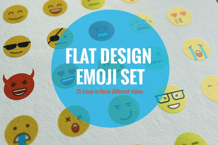 Thumbnail for Flat Design Emoji Set