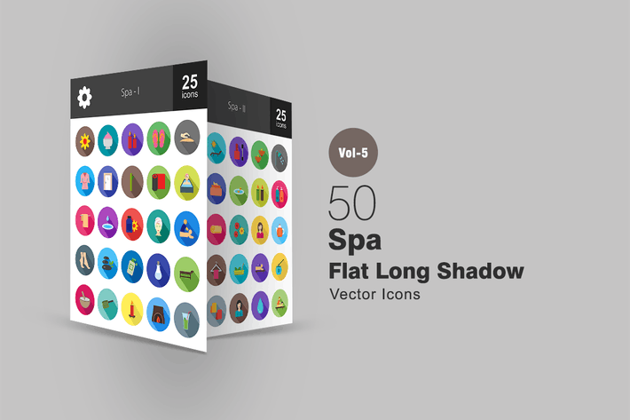 Thumbnail for 50 Spa Flat Shadowed Icons